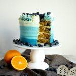 blueberry orange cake with slice cut