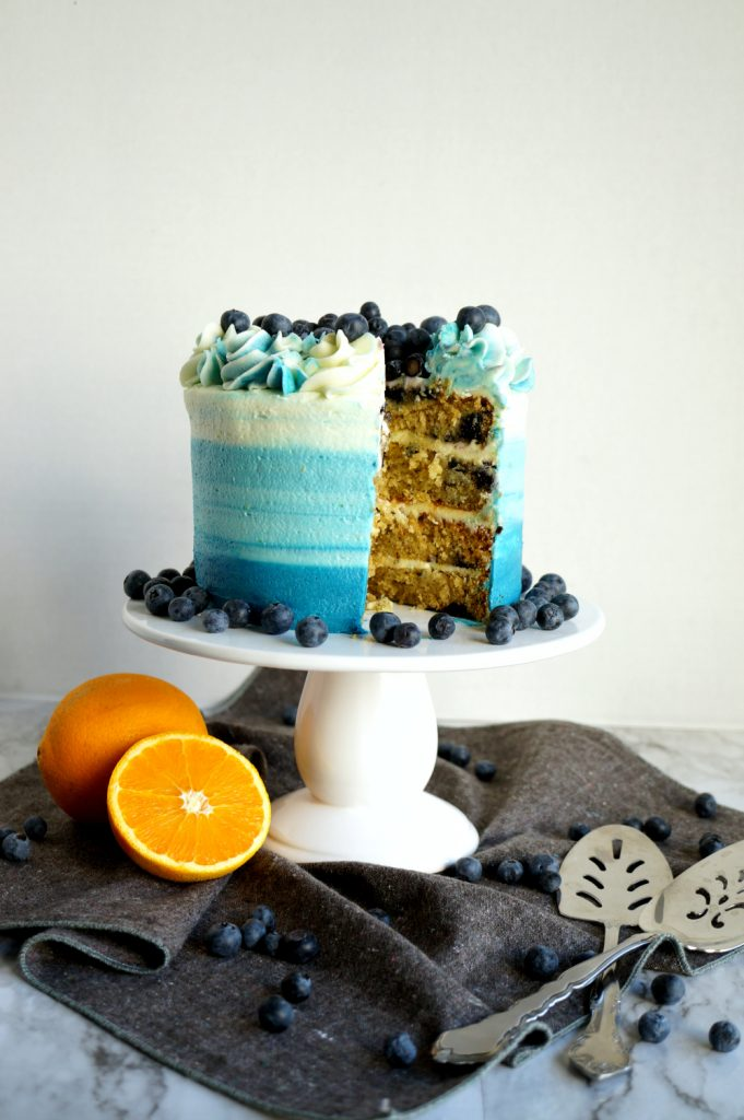 blueberry orange cake with slice cut