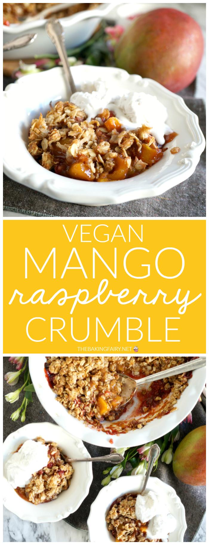 collage of mango raspberry crumble