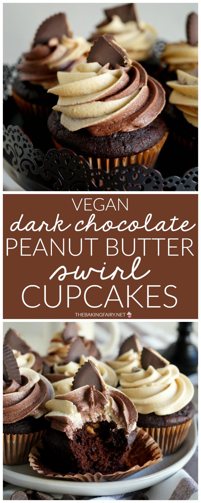 vegan dark chocolate peanut butter swirl cupcakes   The Baking Fairy #PBChocSat