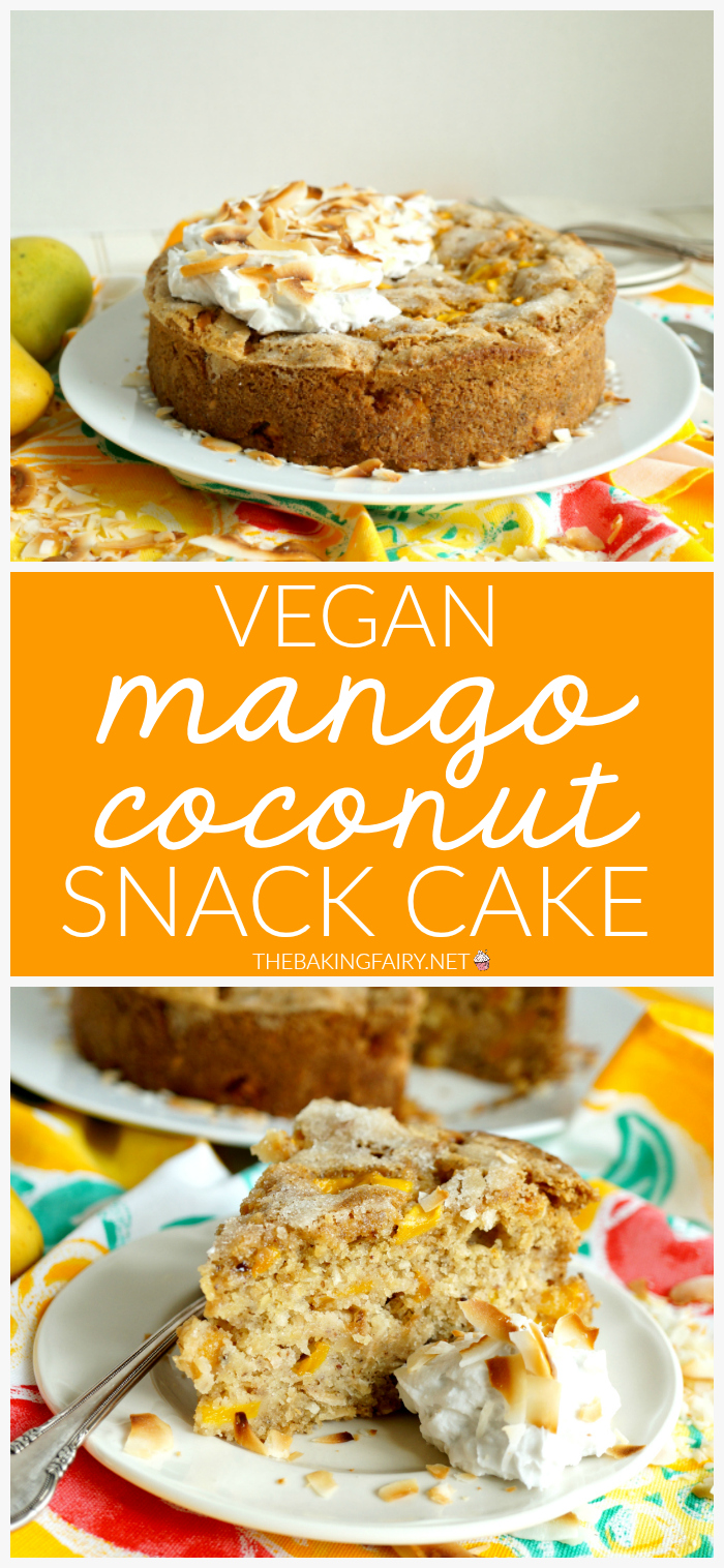 mango coconut snack cake collage