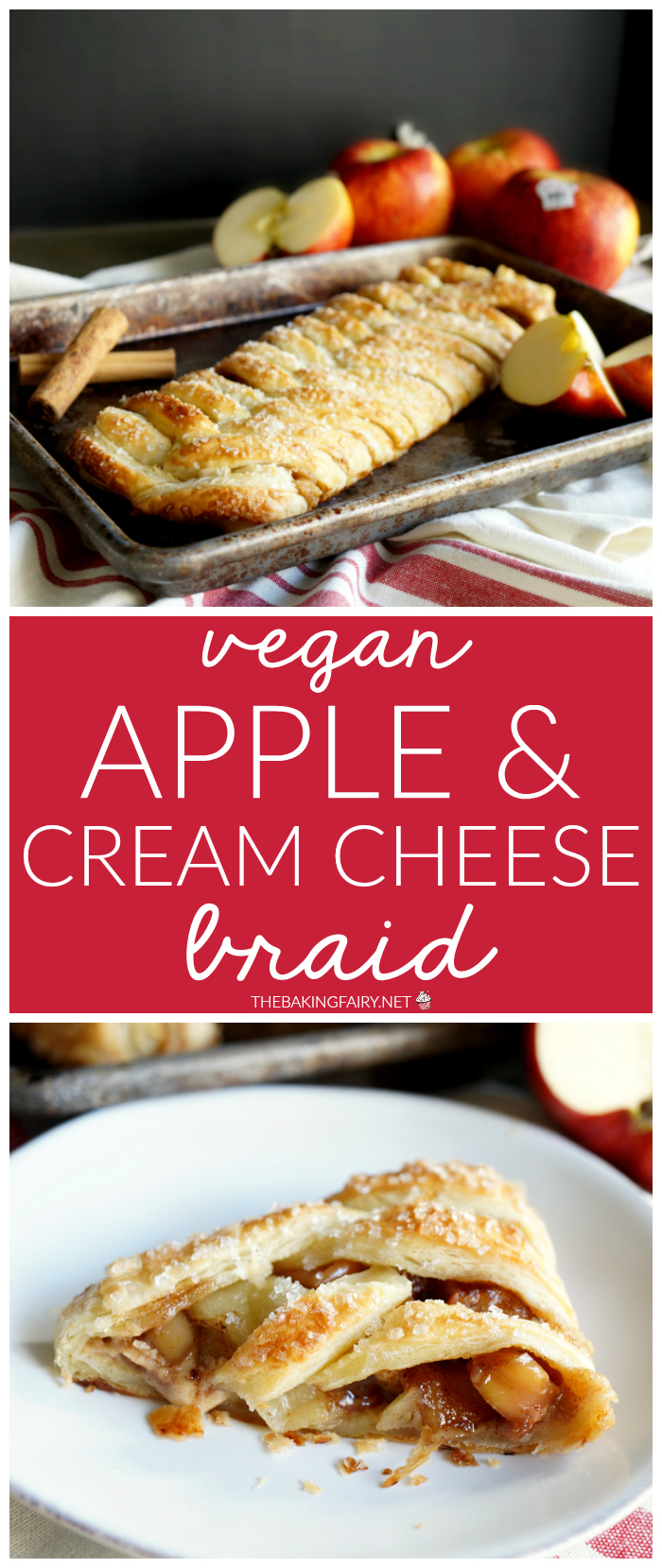 vegan apple cream cheese puff pastry braid | The Baking Fairy #AppleWeek