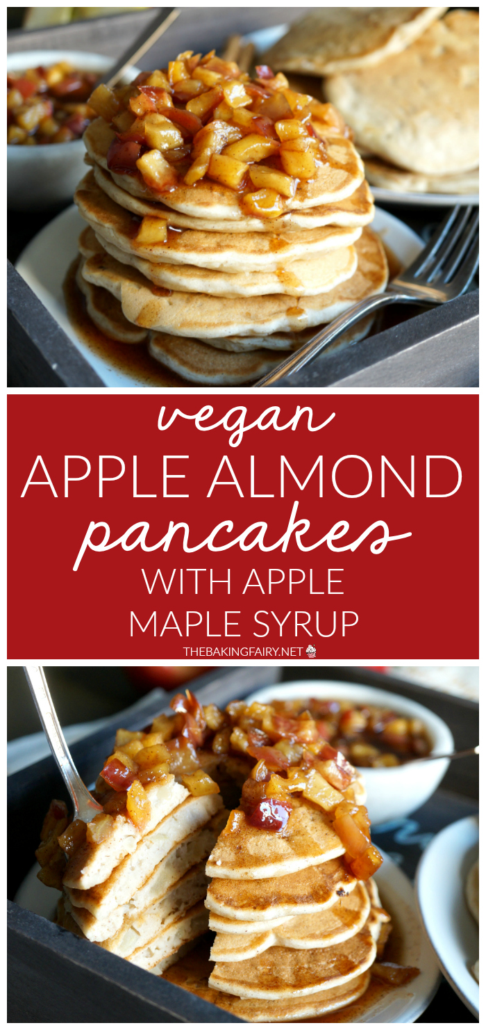 vegan apple almond pancakes with apple maple syrup | The Baking Fairy #AppleWeek