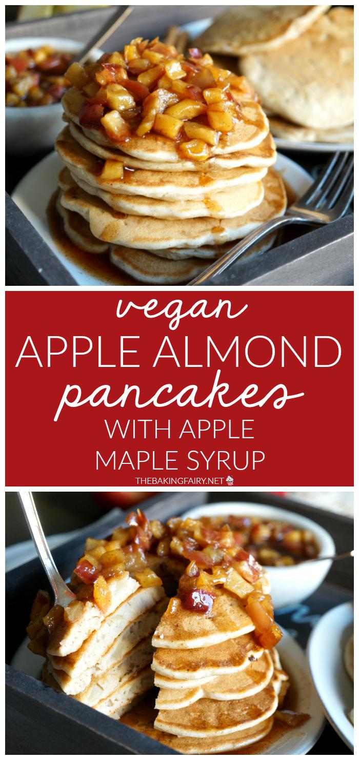 vegan apple almond pancakes with apple maple syrup | The Baking Fairy #AppleWeek