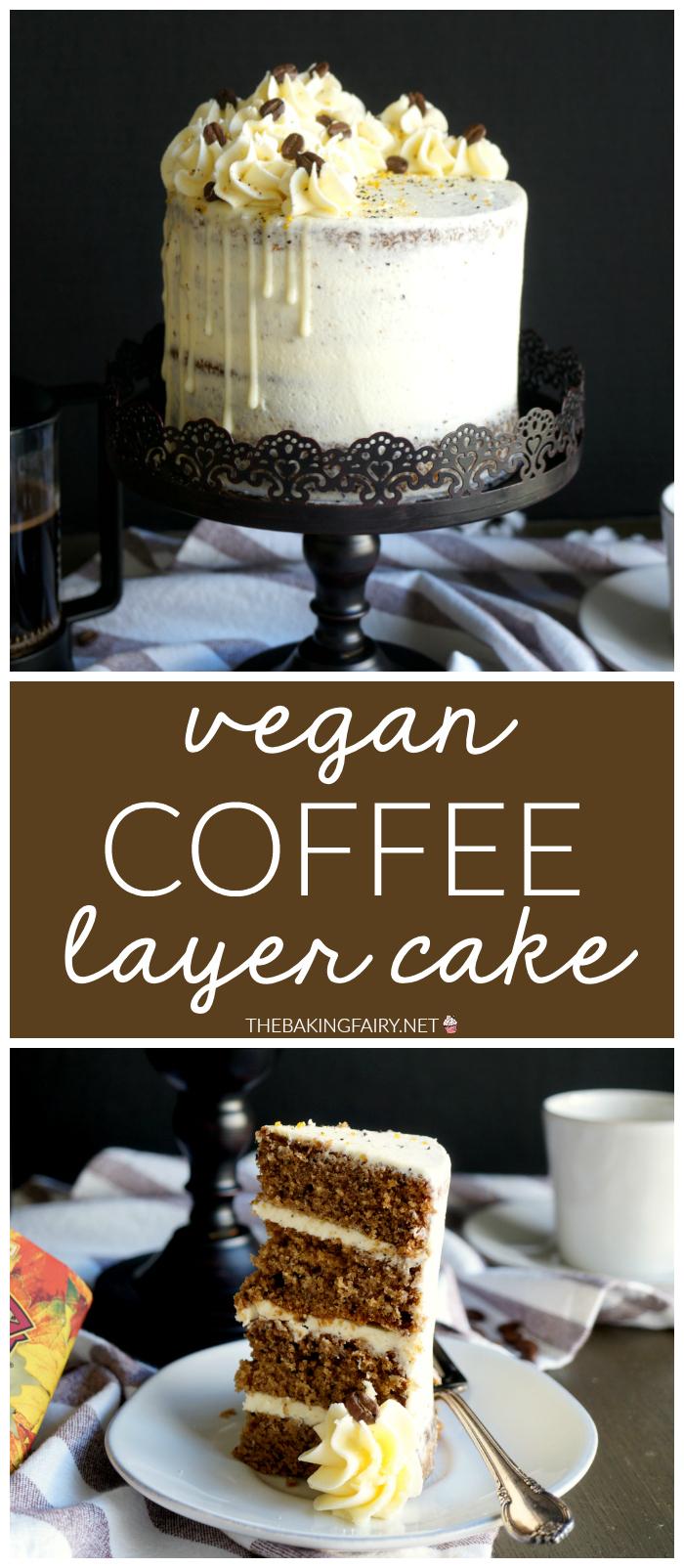 vegan coffee layer cake | The Baking Fairy #FallFlavors