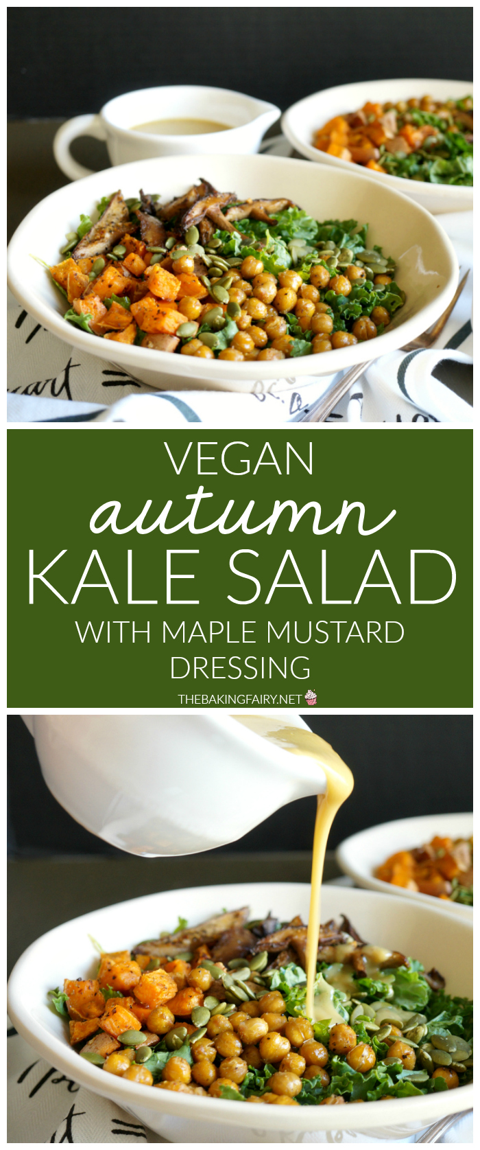 vegan autumn kale salad with roasted shiitakes and maple mustard dressing | The Baking Fairy