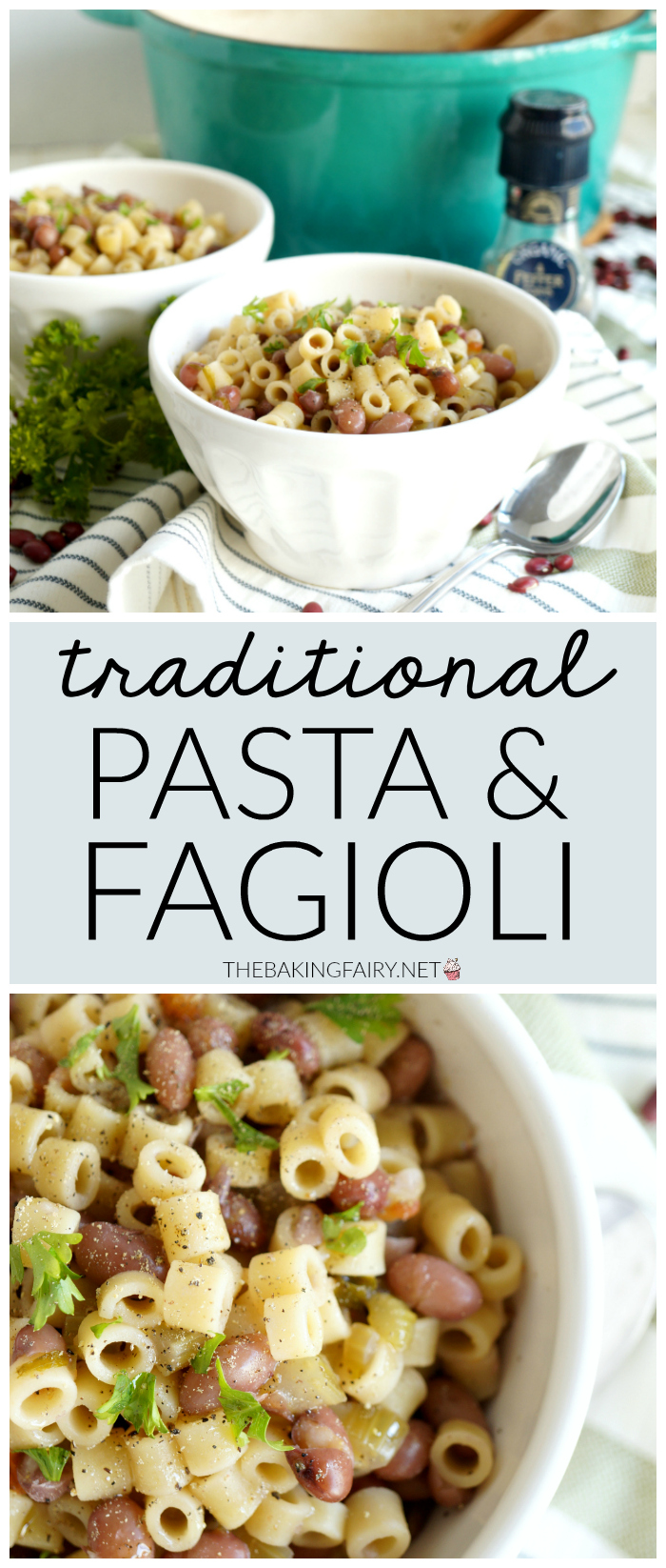 traditional pasta e fagioli {Italian bean pasta} | The Baking Fairy #HungerActionMonth