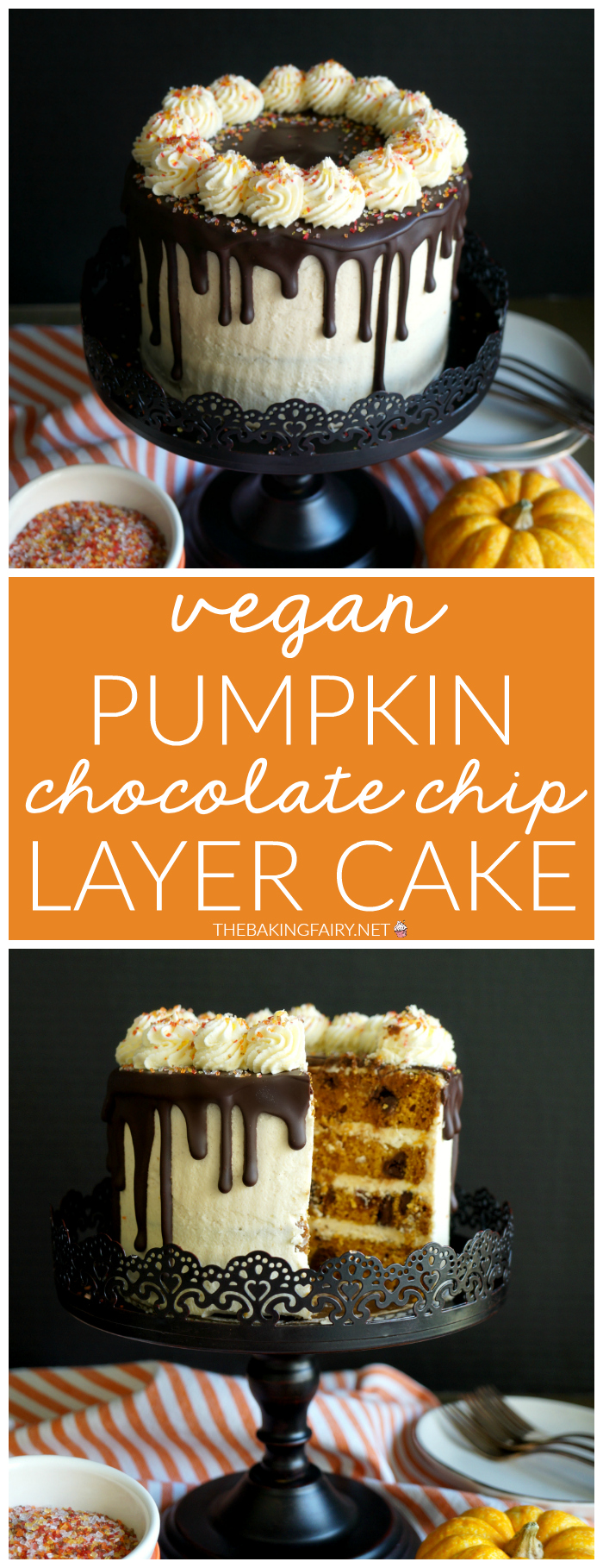 vegan pumpkin chocolate chip layer cake | The Baking Fairy #PumpkinWeek #ad