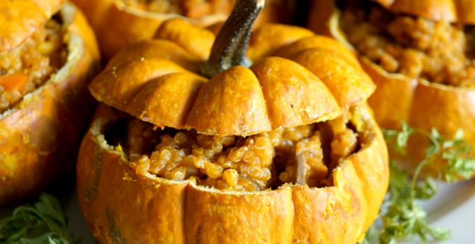 vegan savory stuffed pumpkins #PumpkinWeek