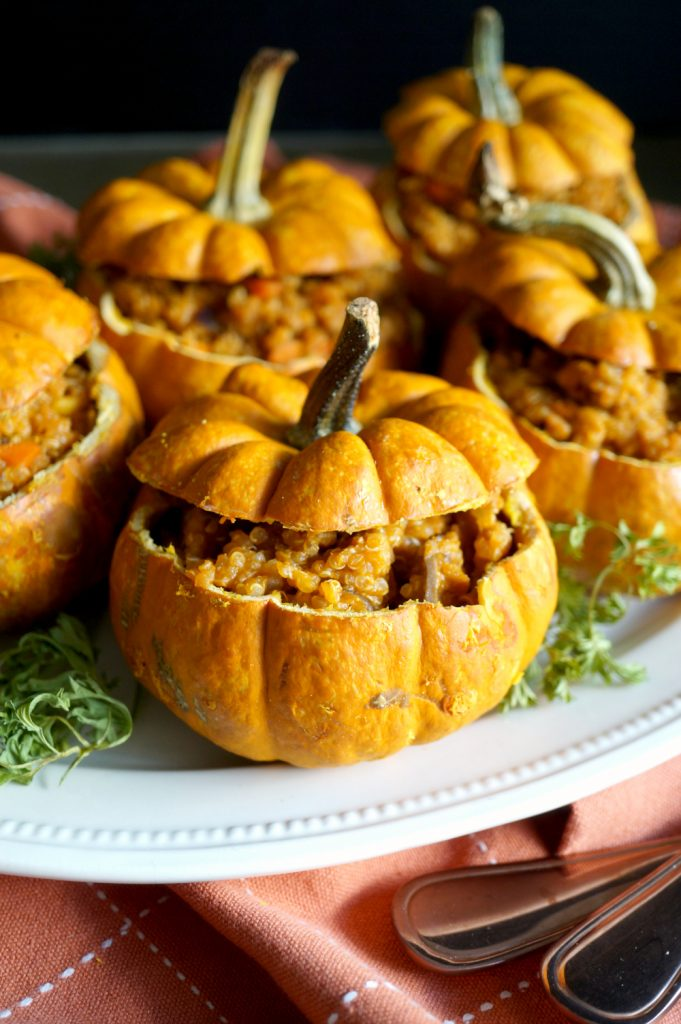 vegan savory stuffed pumpkins | The Baking Fairy #PumpkinWeek