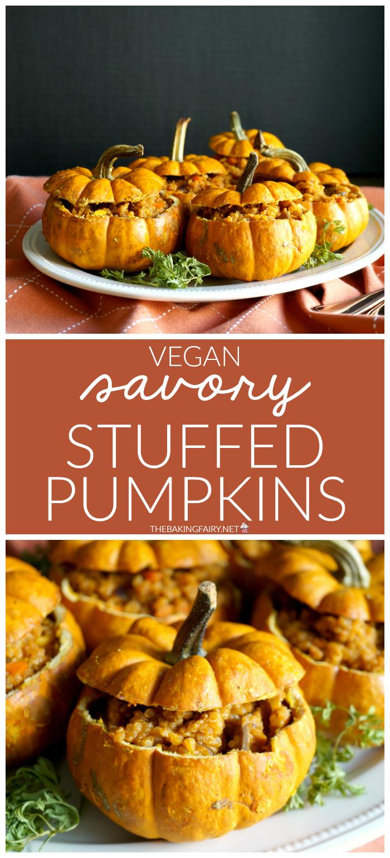 vegan savory stuffed pumpkins | The Baking Fairy #PumpkinWeek