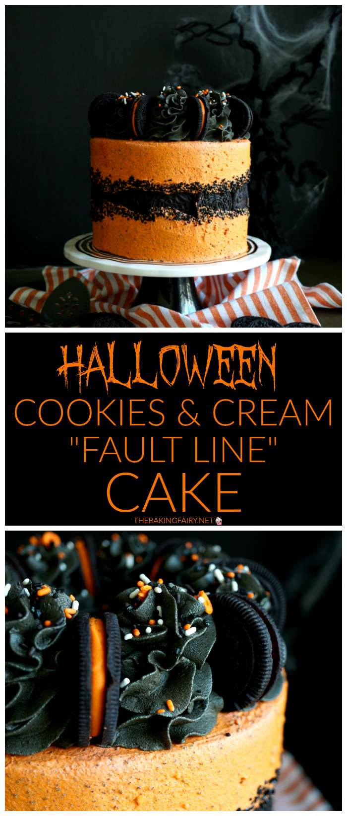 vegan Halloween cookies & cream fault line cake | The Baking Fairy #HalloweenTreatsWeek #ad