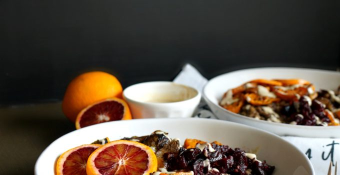 autumn harvest bowls with blood orange tahini drizzle #FreakyFruitsFriday