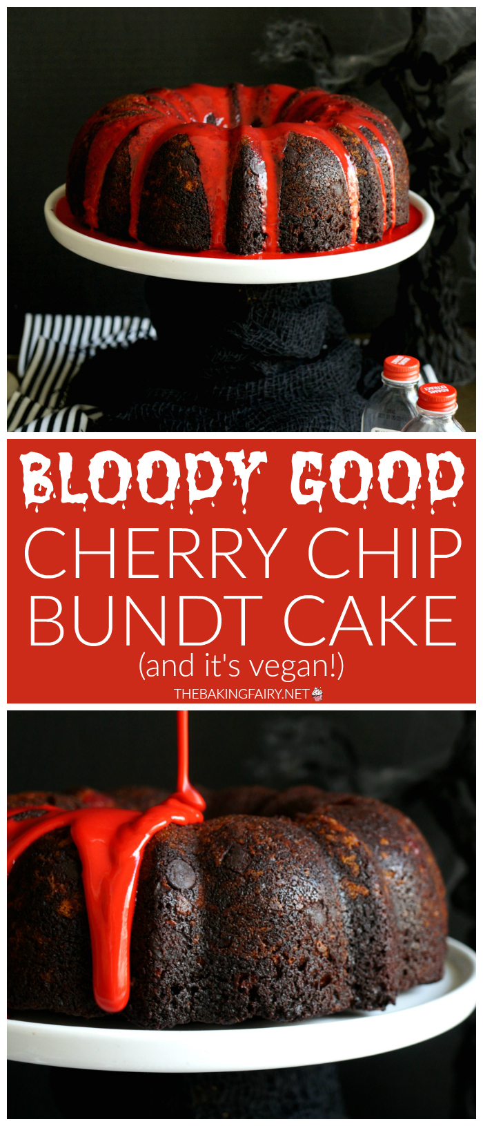 bloody good vegan cherry chip bundt cake | The Baking Fairy #HalloweenTreatsWeek #ad