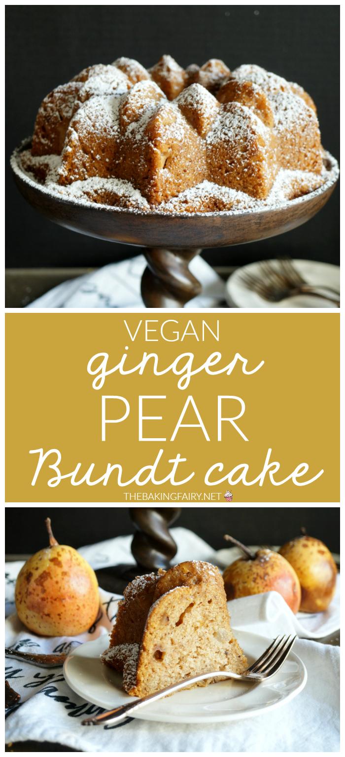 vegan ginger pear bundt cake | The Baking Fairy #FallFlavors