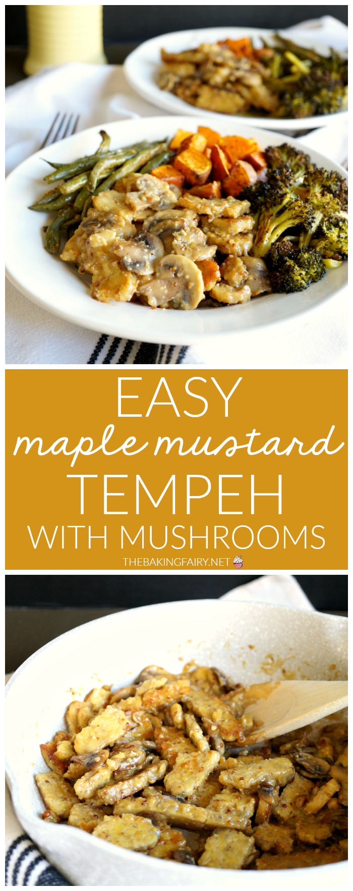 easy maple mustard tempeh with mushrooms   The Baking Fairy