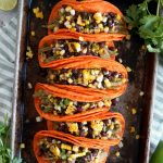 vegan nopales tacos with charred corn and black bean salsa | The Baking Fairy