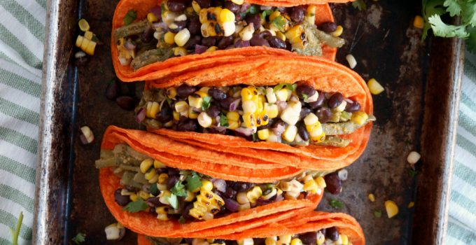 vegan nopales tacos with charred corn and black bean salsa