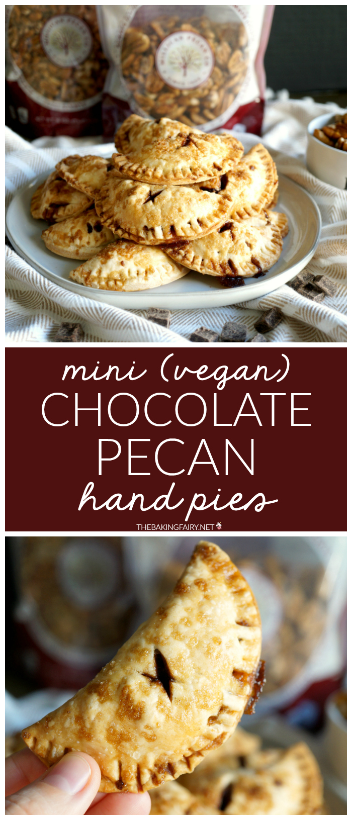 mini vegan chocolate pecan hand pies | The Baking Fairy #FallFlavors #ad