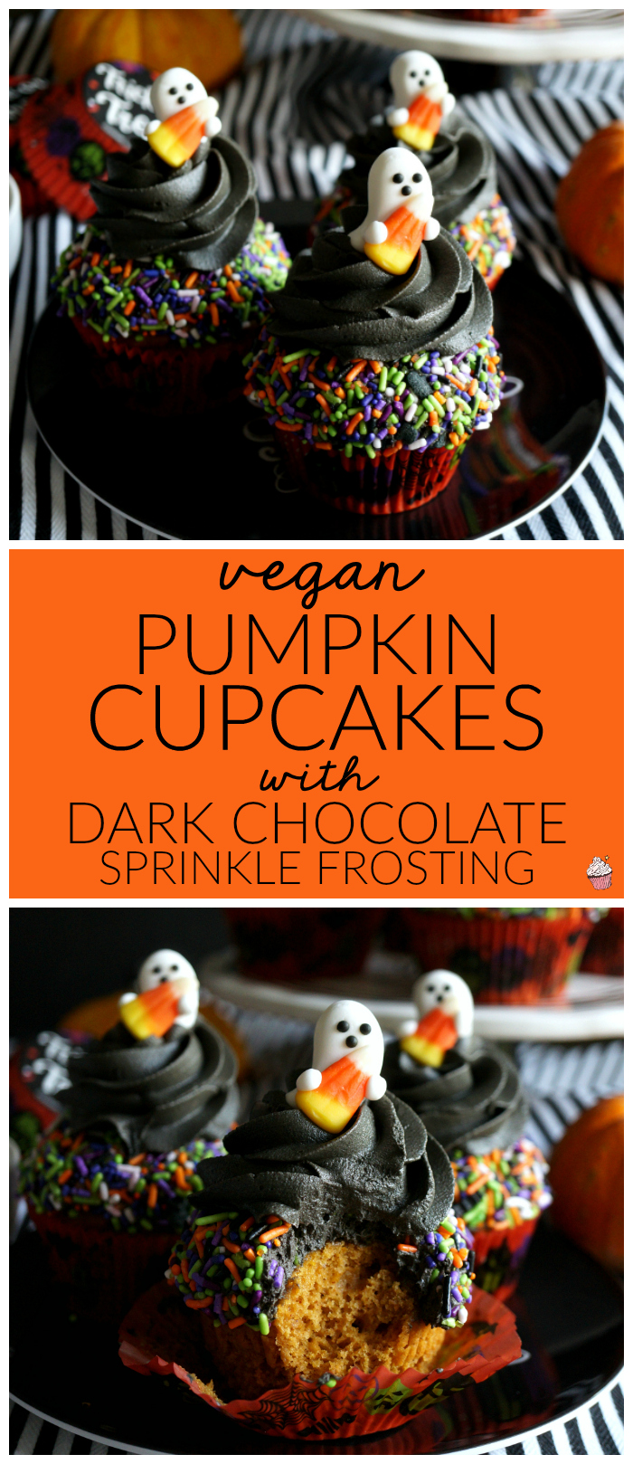 vegan pumpkin cupcakes with dark chocolate sprinkle frosting | The Baking Fairy #HalloweenTreatsWeek #ad