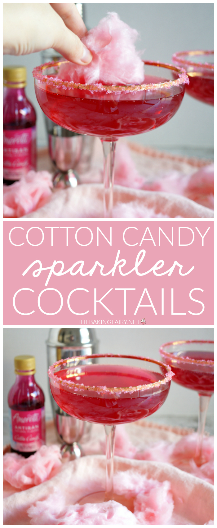 cotton candy sparkler cocktail | The Baking Fairy