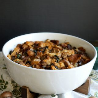 vegan sourdough stuffing with mushrooms, sausage, and swiss chard | The Baking Fairy