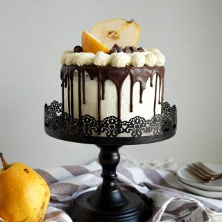 vegan dark chocolate pear layer cake | The Baking Fairy
