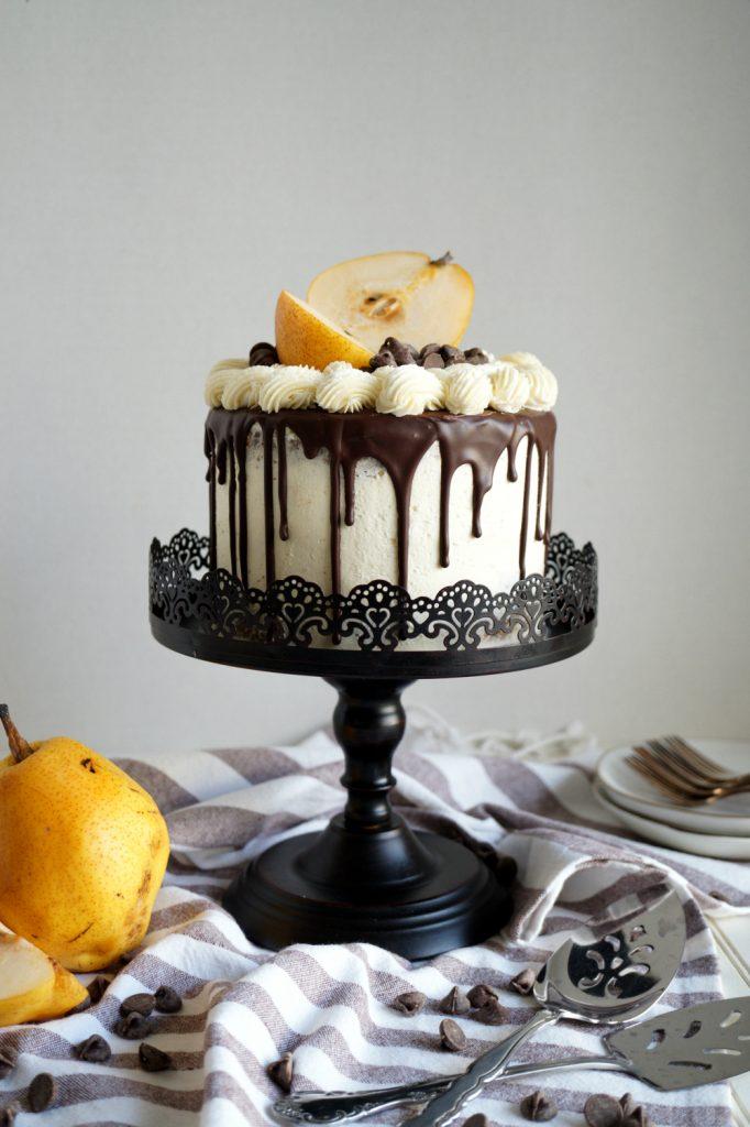 vegan dark chocolate pear layer cake | The Baking Fairy