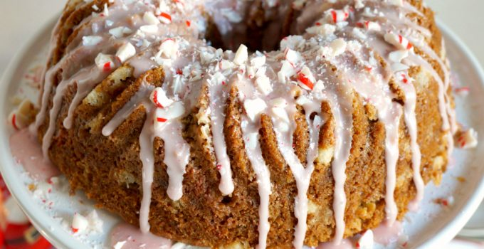 vegan white chocolate peppermint crunch bundt cake
