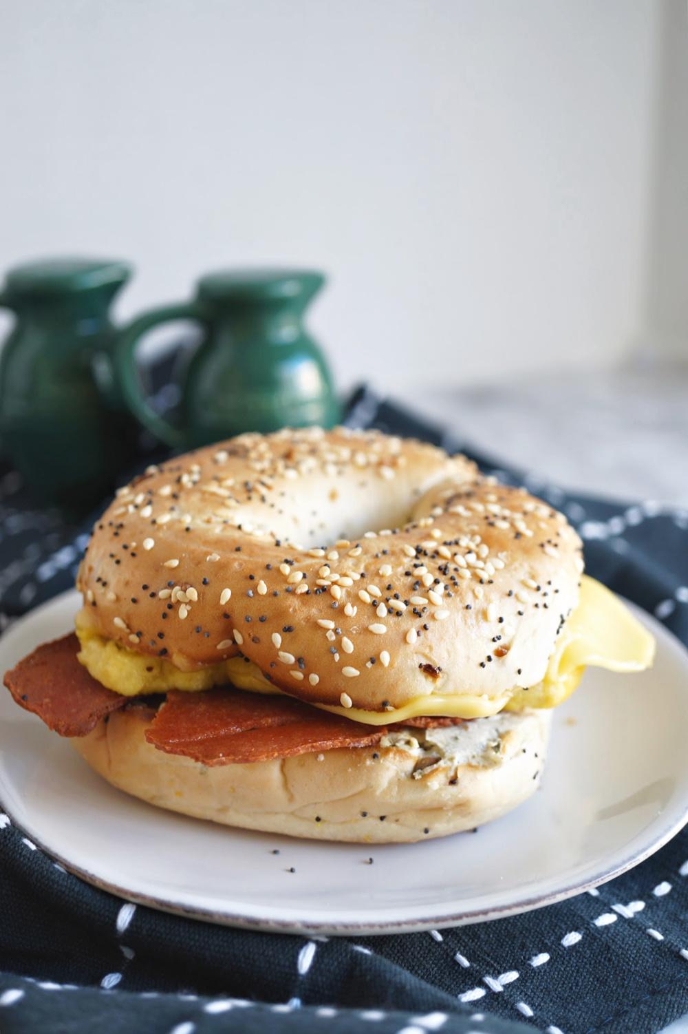 breakfast bagel sandwich on a plate