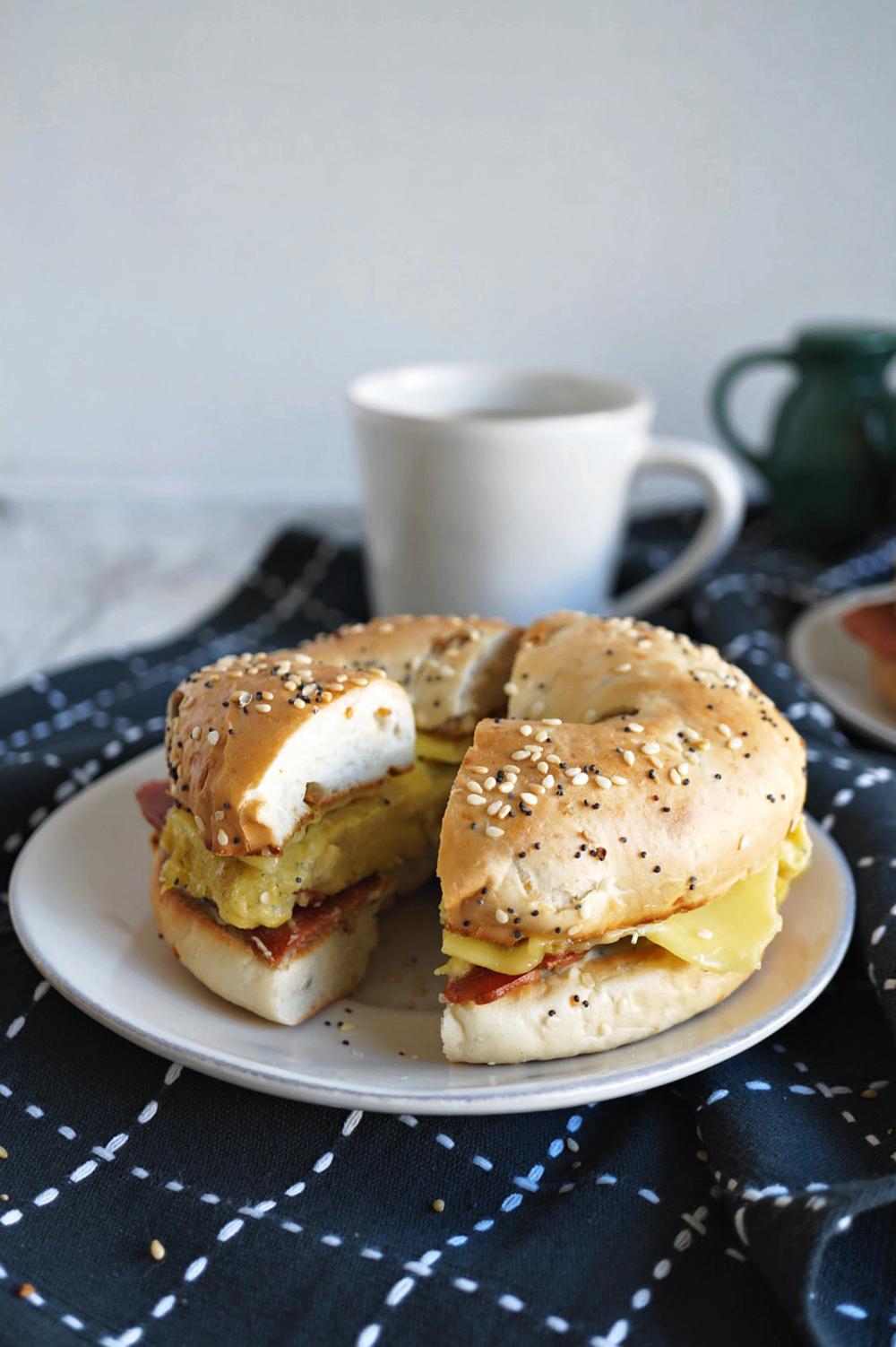 split breakfast bagel sandwich
