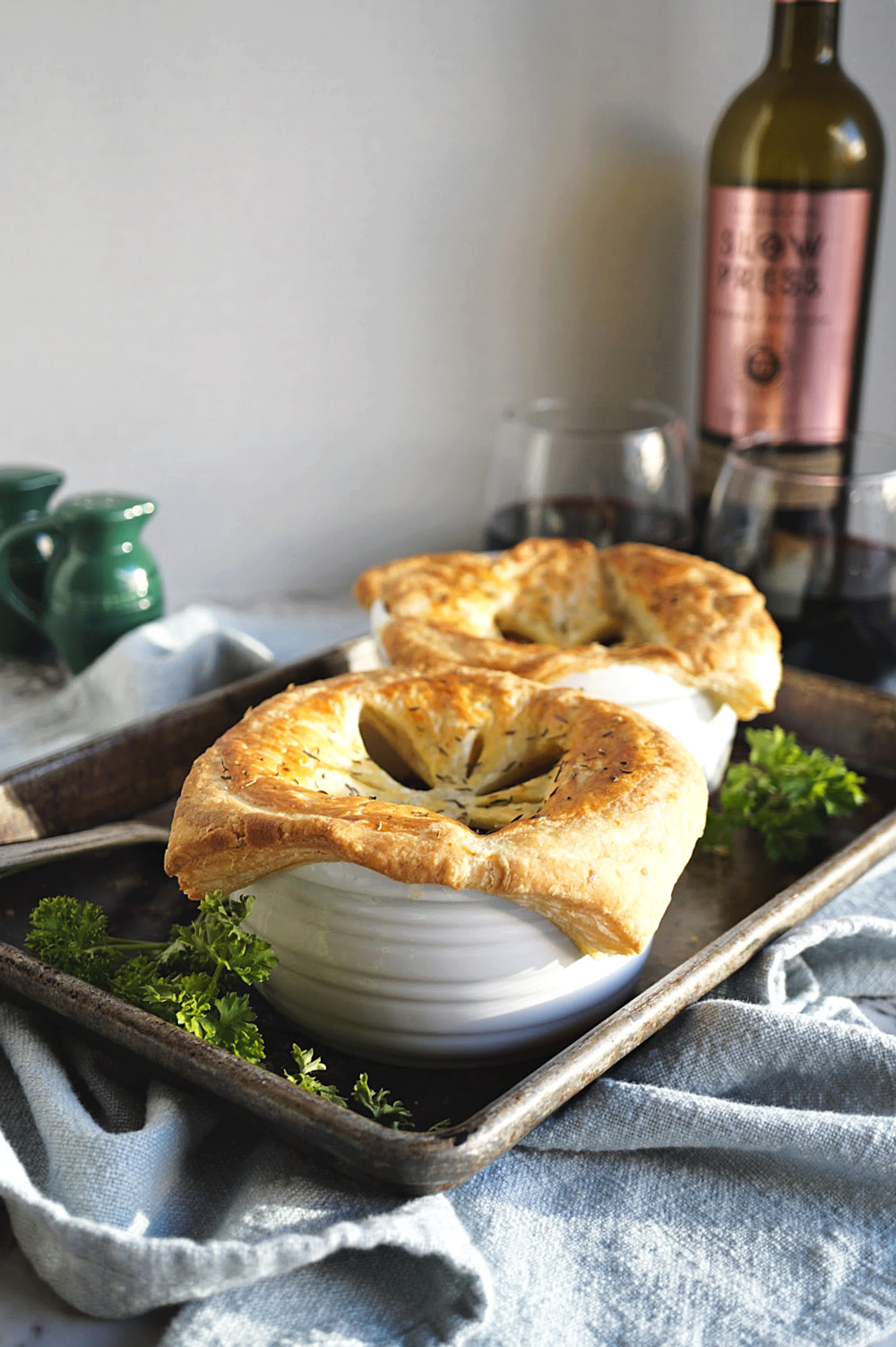 pot pies with puff pastry crust