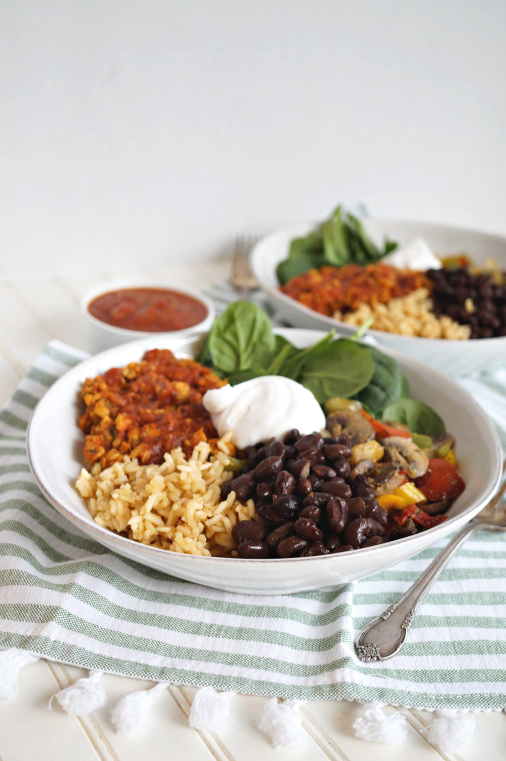 vegan taco bowl with all the toppings