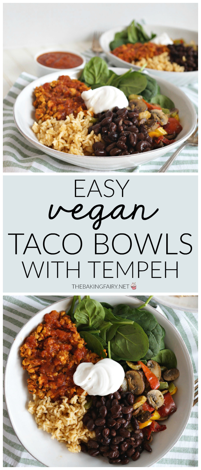 easy vegan taco bowls with tempeh | The Baking Fairy
