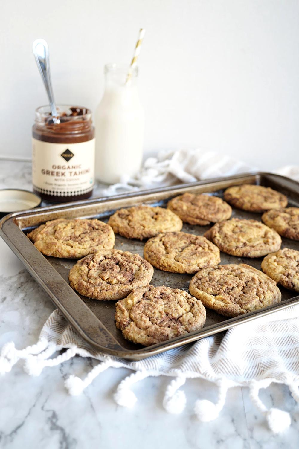 tray of chocolate tahini swirl cookies