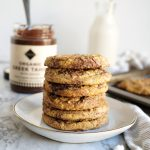 stack of tahini swirl cookies
