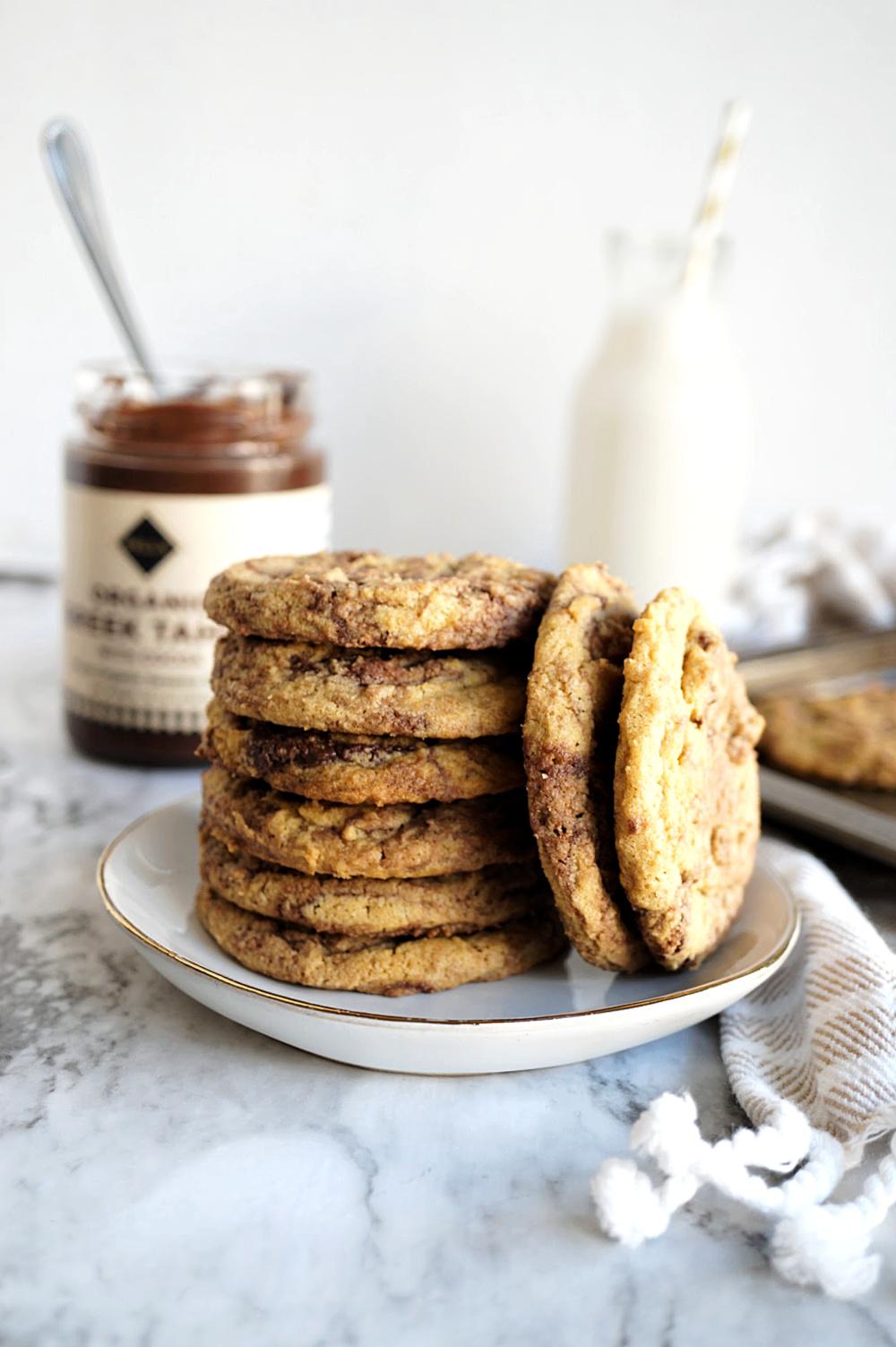 stack of chocolate tahini cookies