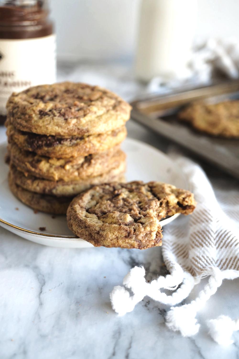 chocolate tahini cookie with bite