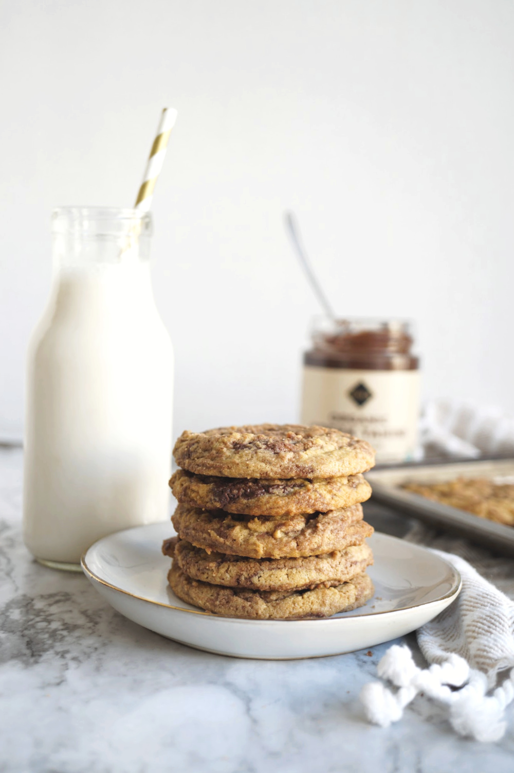 stack of chocolate tahini swirl cookies