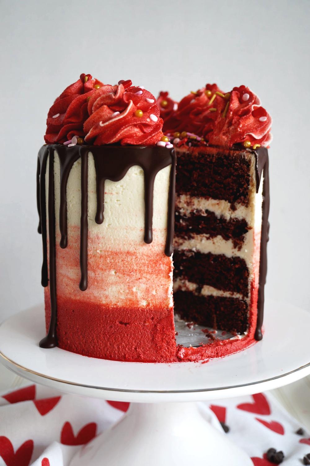 red velvet cake with slice cut