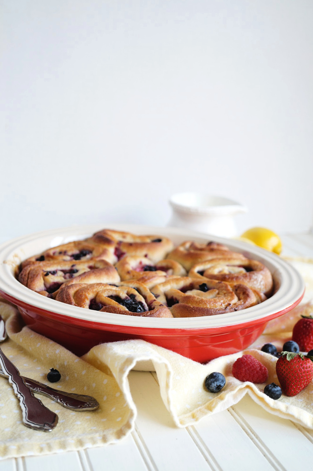 lemon berry rolls in a pan