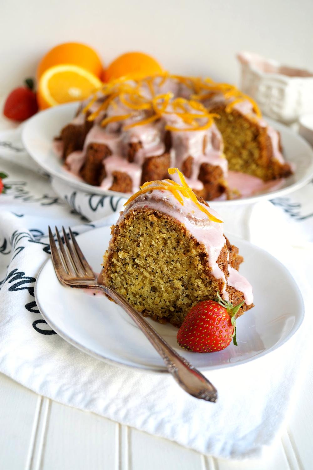 slice of orange poppyseed bundt cake