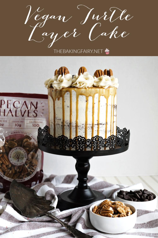 vegan turtle layer cake | The Baking Fairy #SpringSweetsWeek #ad
