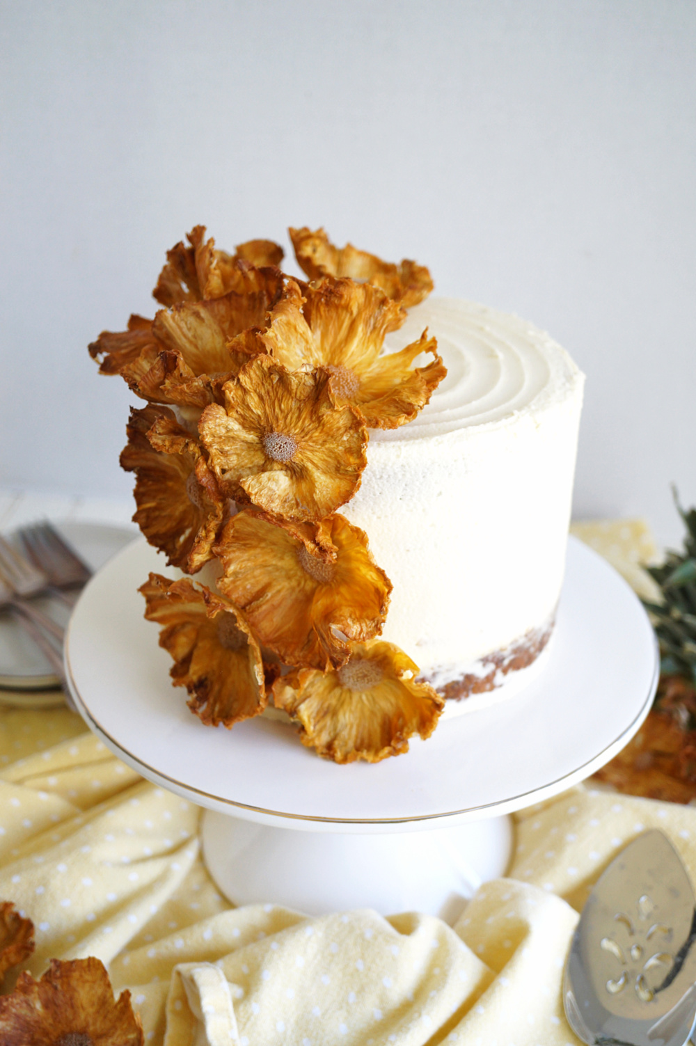 vegan hummingbird cake on stand