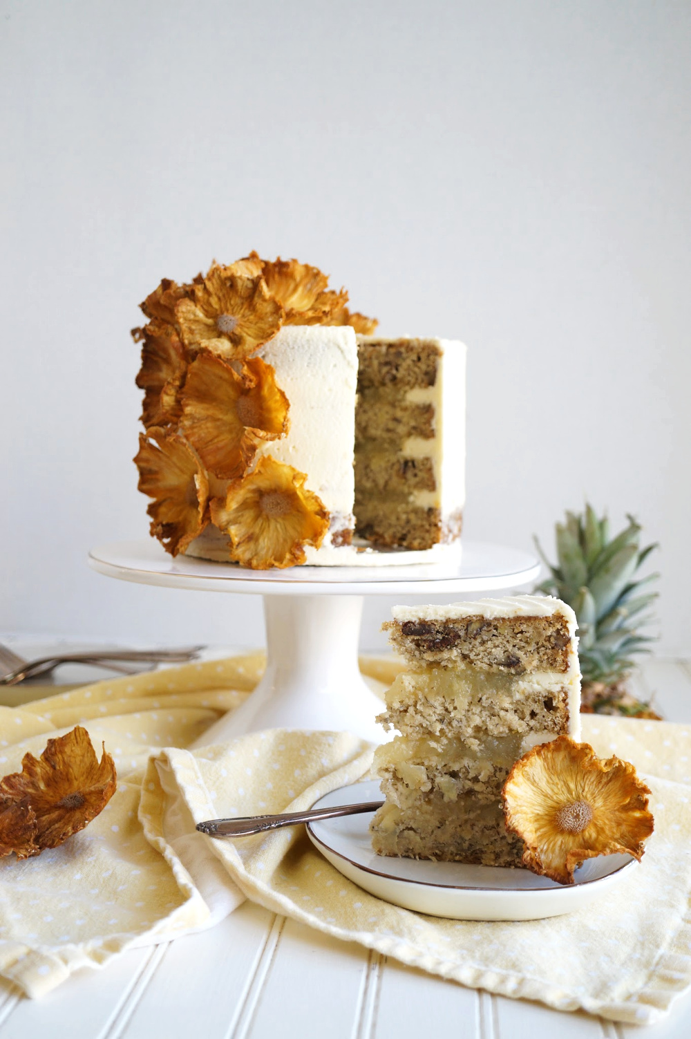 hummingbird layer cake with slice cut
