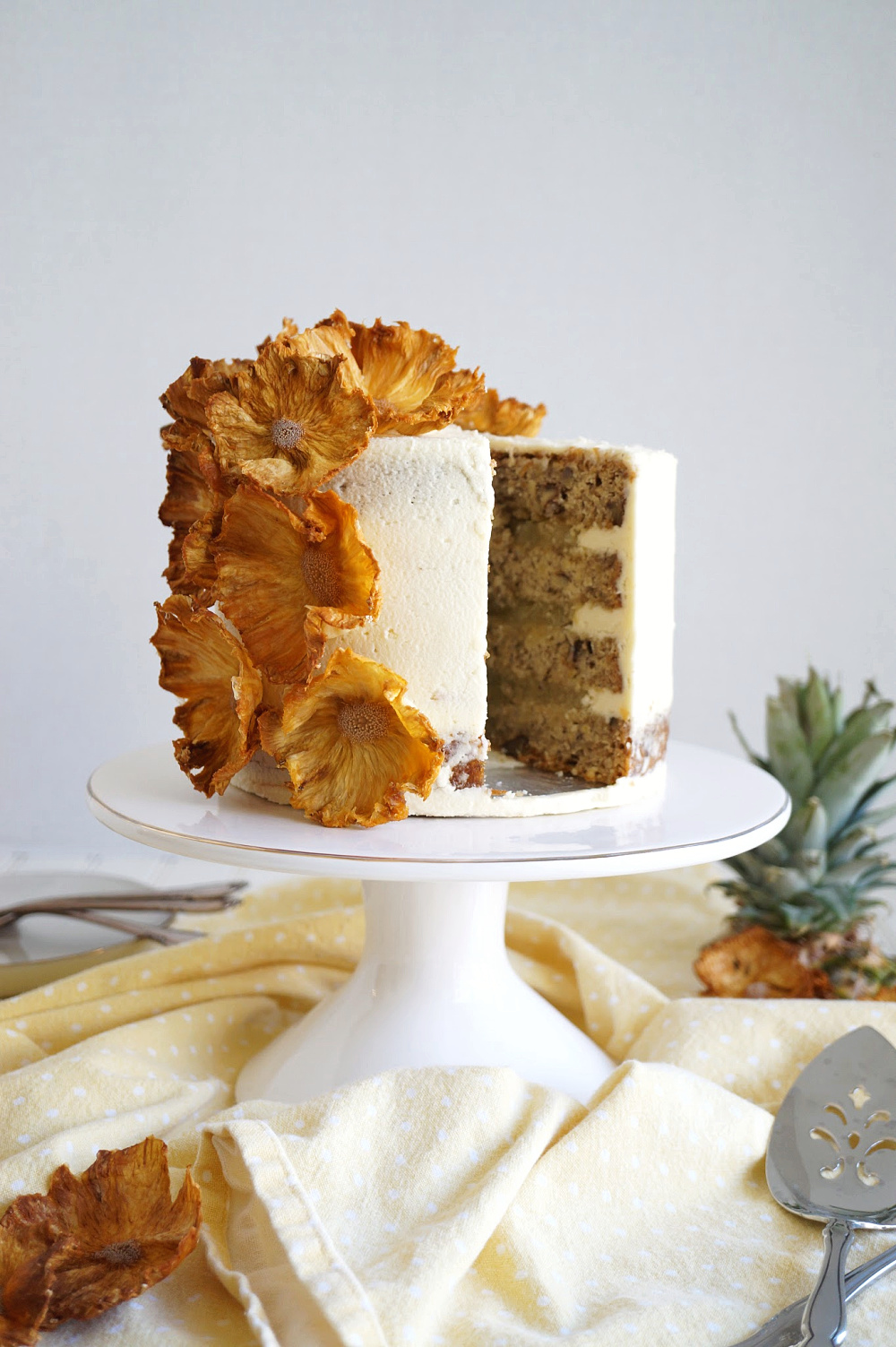 hummingbird cake with slice cut