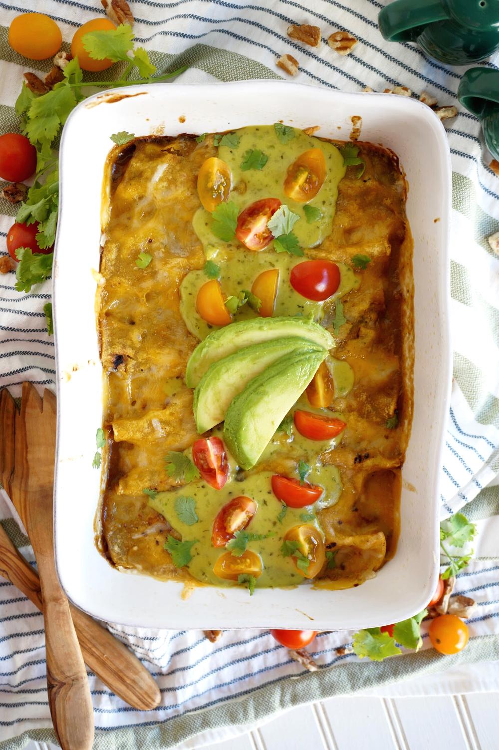 overhead shot of enchilada pan