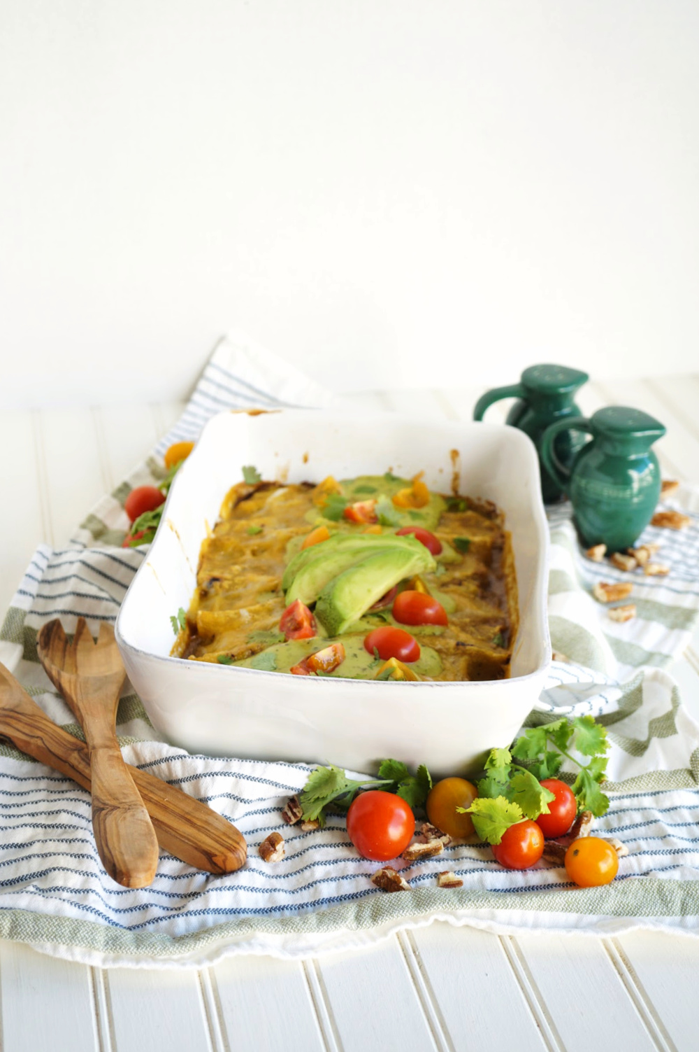 pan of salsa verde enchiladas