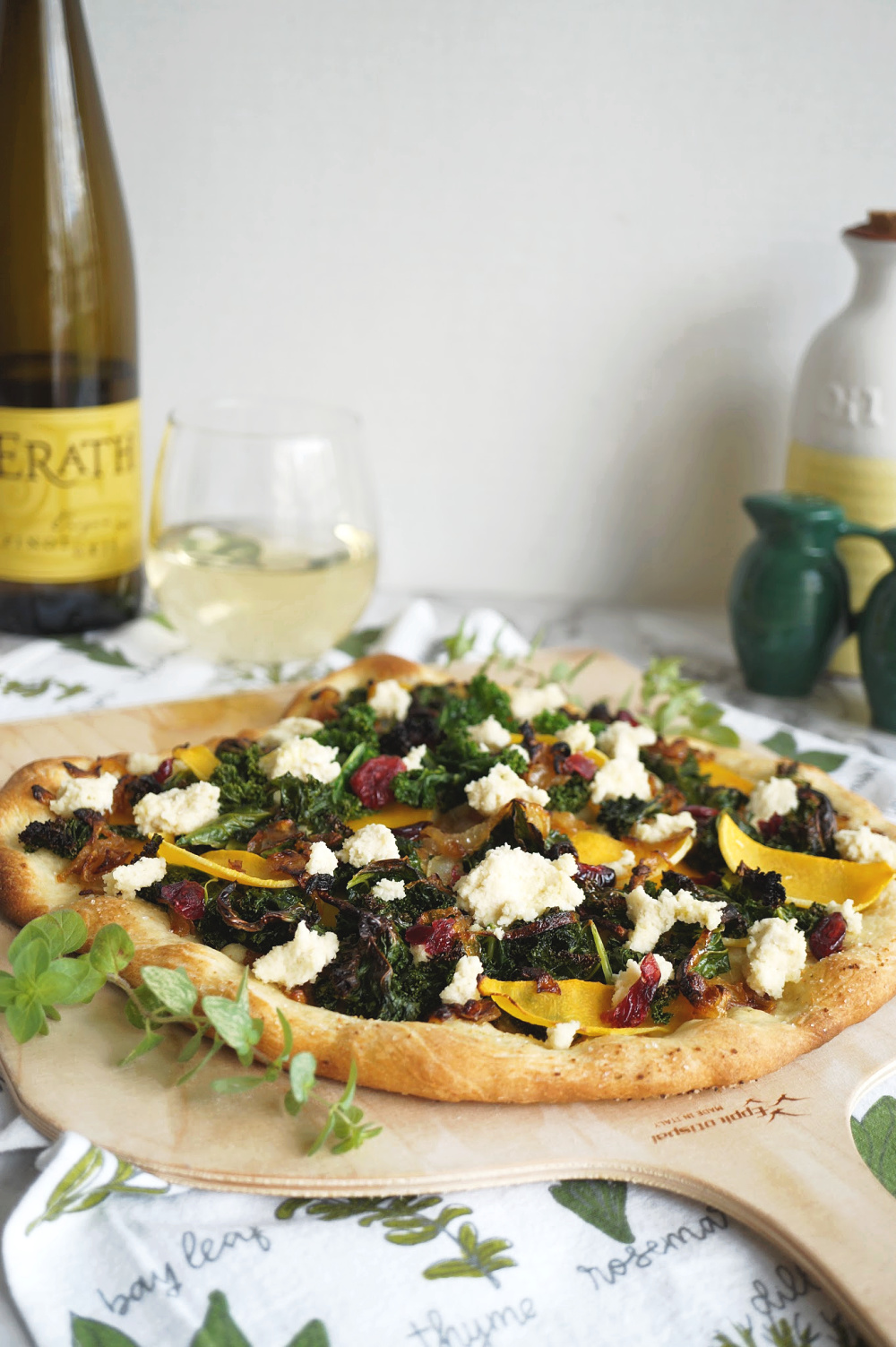 kale and butternut pizza on the table