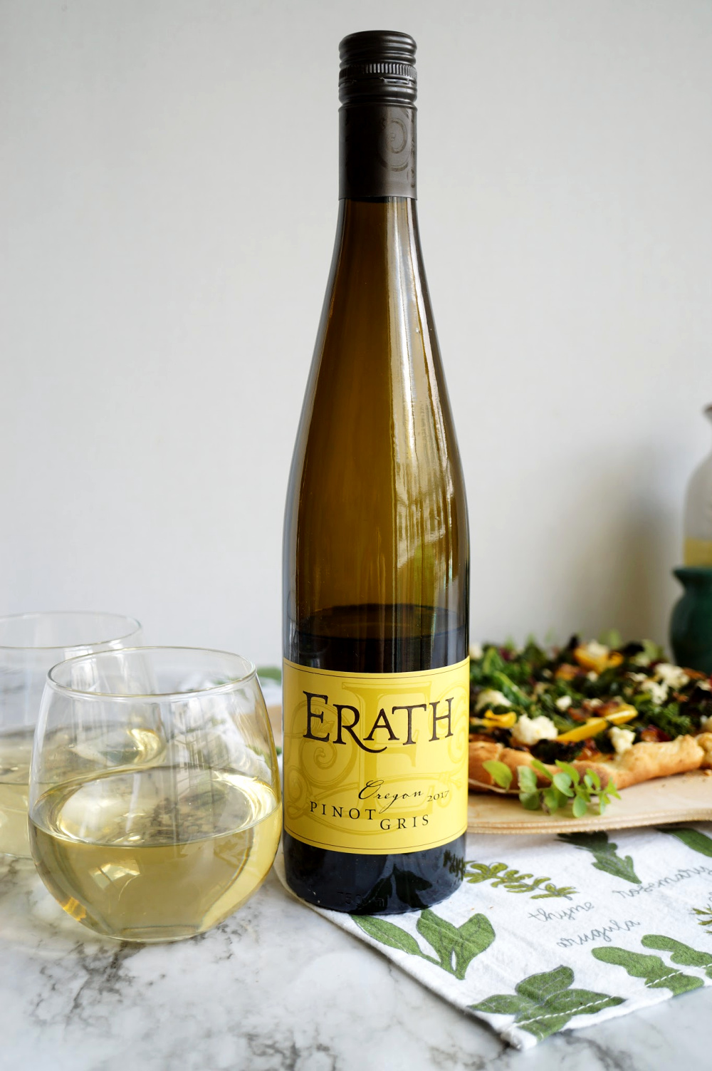 Erath wine bottle with pizza